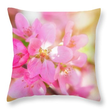 Apple Blossoms Cheerful Glow Throw Pillow