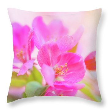 Apple Blossoms Colorful Glow Throw Pillow