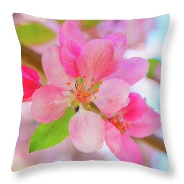 Apple Blossoms Red And Blue Throw Pillow