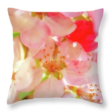Apple Blossoms Textures Throw Pillow