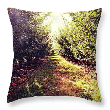 Throw Pillow featuring the photograph Apple Orchard by Candice Trimble
