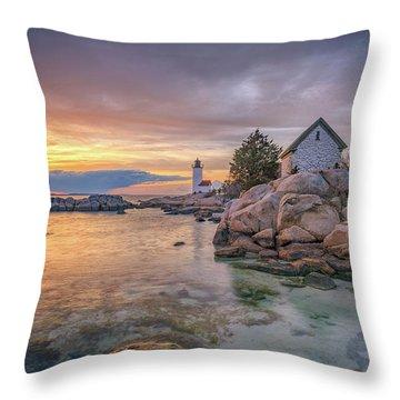 April Sunset At Annisquam Harbor Lighthouse Throw Pillow
