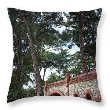 Architecture At The Gardens Of Cecilio Rodriguez In Retiro Park - Madrid, Spain Throw Pillow