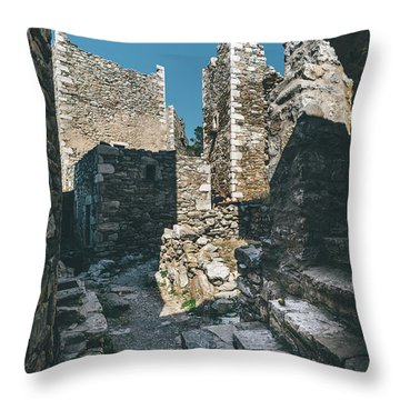 Architecture Of Old Vathia Settlement Throw Pillow