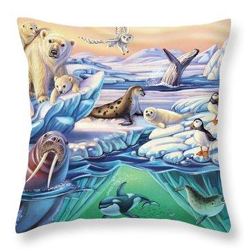 Arctic Animals Throw Pillow