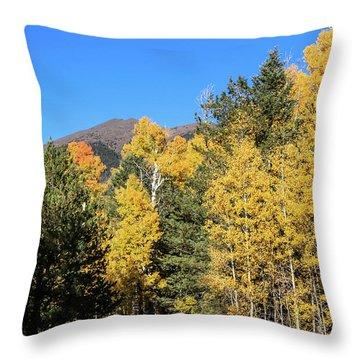 Arizona Aspens With Mountains Throw Pillow