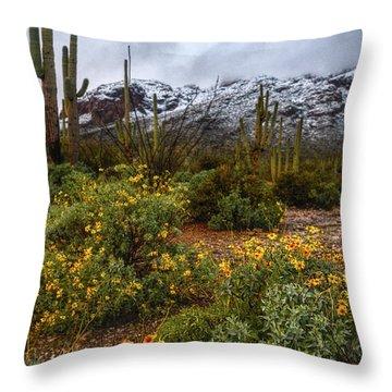Arizona Flowers And Snow Throw Pillow
