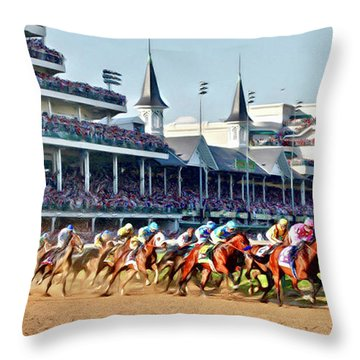Around The First Turn Throw Pillow