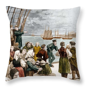 Arrival Of Emigrants In New York In 1887 In The Background, The Statue Of Liberty Throw Pillow
