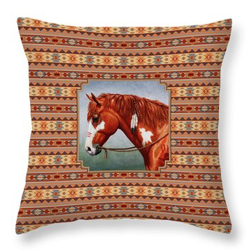 Native American War Horse Southwestern Pillow Throw Pillow