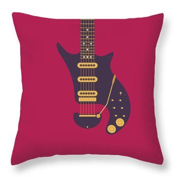 Red Special Guitar - Burgundy Throw Pillow