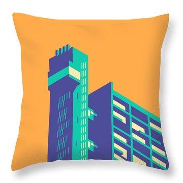 Trellick Tower London Brutalist Architecture - Plain Apricot Throw Pillow