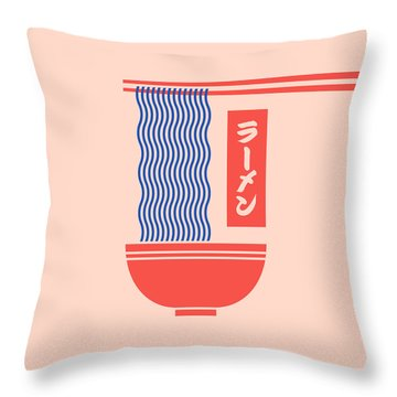 Ramen Japanese Food Noodle Bowl Chopsticks - Salmon Throw Pillow