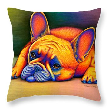 Colorful French Bulldog Throw Pillow