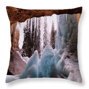 Throw Pillow featuring the digital art Hanging Lake Spouting Rock At Glenwood Canyon Glenwood Spring by OLena Art Brand