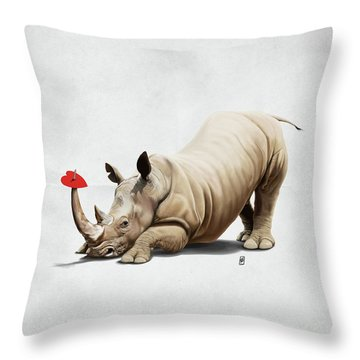 Throw Pillow featuring the digital art Horny Wordless by Rob Snow