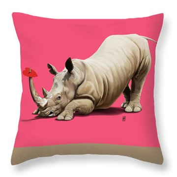 Throw Pillow featuring the digital art Horny Colour by Rob Snow