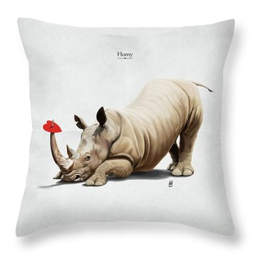 Throw Pillow featuring the digital art Horny by Rob Snow