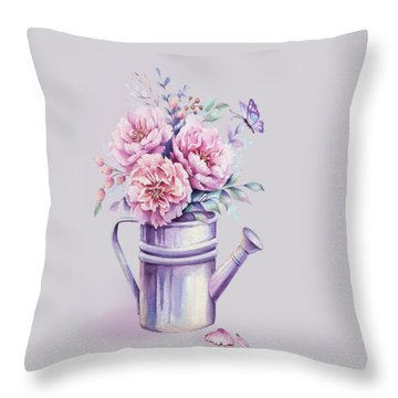 Throw Pillow featuring the painting Pink Peonies Blooming Watercolour by Georgeta Blanaru