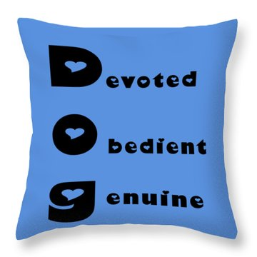 Dog With Black Words Throw Pillow