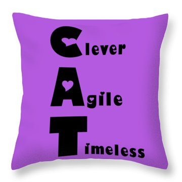 Cat With Black Words Throw Pillow