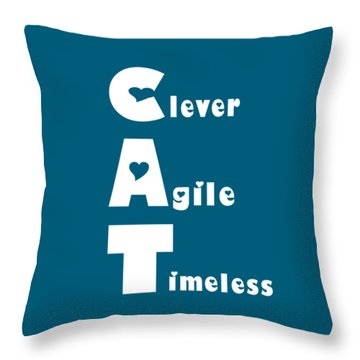 Cat With White Words Throw Pillow