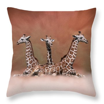 Throw Pillow featuring the digital art The Watchers - Three Giraffes by Debi Dalio