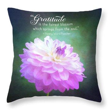 Pink Dahlia Gratitude Artwork Throw Pillow