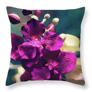 Throw Pillow featuring the mixed media Fuchsia Pink Vanda Orchid by Susan Maxwell Schmidt