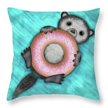 O Is For Otter With An O So Delicious Doughnut Throw Pillow