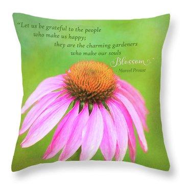 Coneflower Gratitude Art Throw Pillow