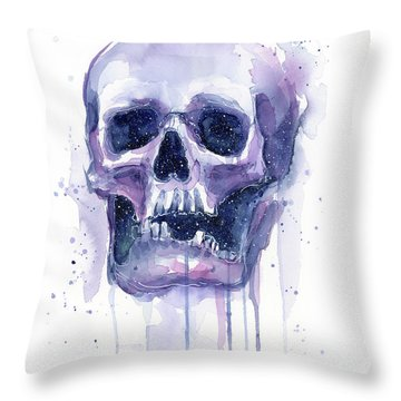 Skull In Space Throw Pillow