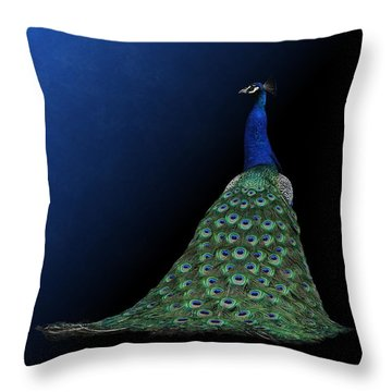 Throw Pillow featuring the photograph Dressed To Party - Male Peacock by Debi Dalio