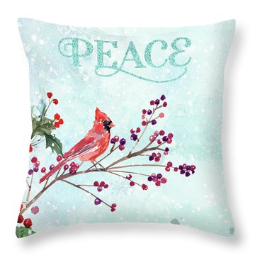 Woodland Holiday Peace Art Throw Pillow