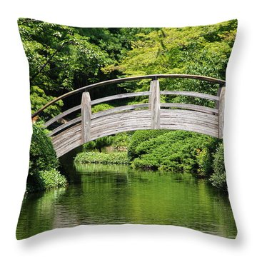 Throw Pillow featuring the photograph Japanese Garden Arch Bridge In Springtime by Debi Dalio