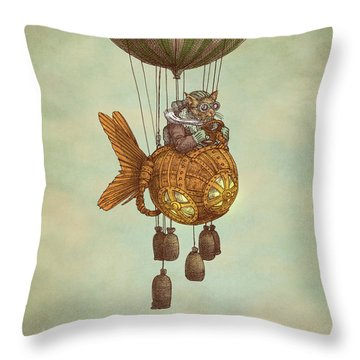 Around The World In The Goldfish Flyer Throw Pillow