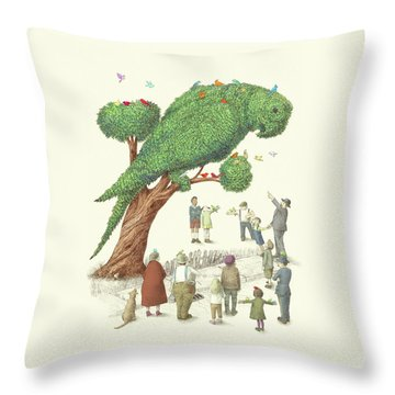 The Parrot Tree Throw Pillow