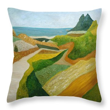 A Walk Down To The Sea Throw Pillow