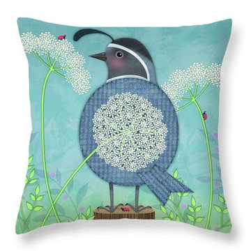 Q Is For Quail And Queen Anne's Lace Throw Pillow