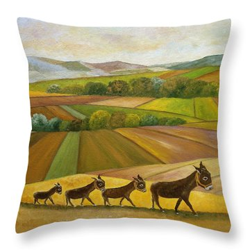 Throw Pillow featuring the painting Sunday Promenade by Angeles M Pomata