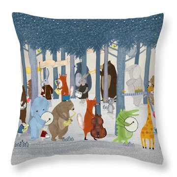 Little Nature Parade Throw Pillow by Bri Buckley