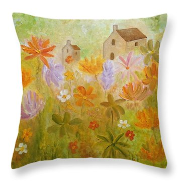 Throw Pillow featuring the painting Hidden Folk by Angeles M Pomata