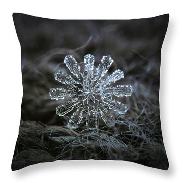 Throw Pillow featuring the photograph December 18 2015 - Snowflake 3 by Alexey Kljatov