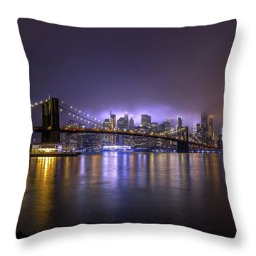Bright Lights Of New York II Throw Pillow