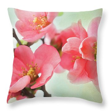 Coral Quince Throw Pillow