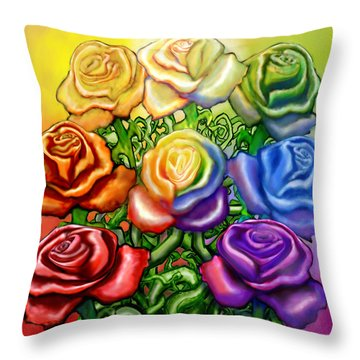 Throw Pillow featuring the digital art Rainbow Of Roses by Kevin Middleton
