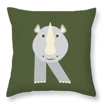 Letter R - Animal Alphabet - Rhino Monogram Throw Pillow