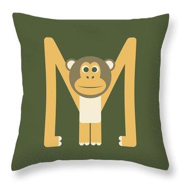 Letter M - Animal Alphabet - Monkey Monogram Throw Pillow