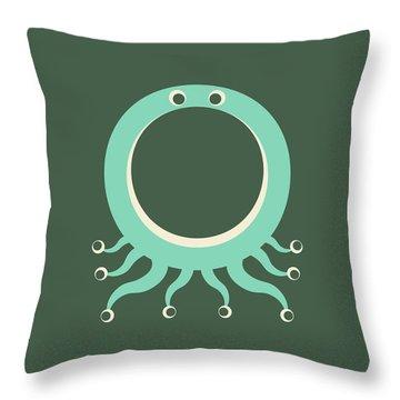 Letter O - Animal Alphabet - Octopus Monogram Throw Pillow