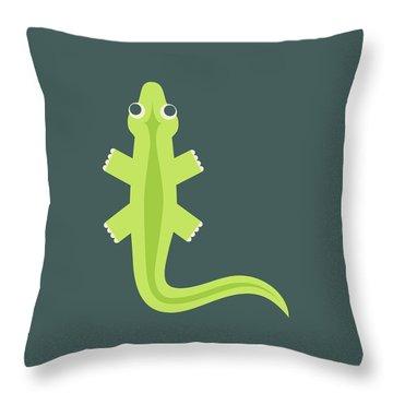 Letter L - Animal Alphabet - Lizard Monogram Throw Pillow